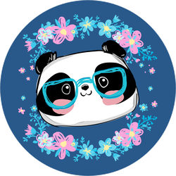 Panda With Glasses And Flowers Sticker