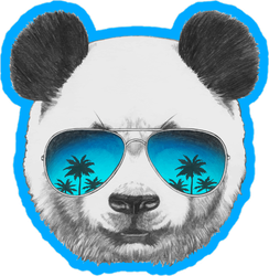 Panda With Mirror Sunglasses Circle Sticker