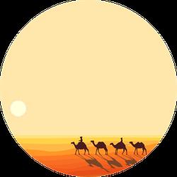 Panoramic Landscape Of The Desert Caravan Of Camels Sticker
