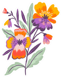 Pansies In Hand Drawn Style Isolated Sticker