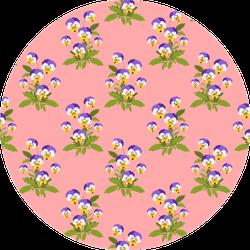 Pansy Flower Seamless Pattern On Pink Sticker
