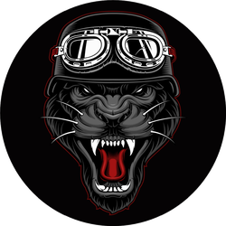 Panther Biker Mascot On Dark Background Sticker