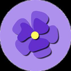 Paper Cut Cute Pansy Flower On Purple Sticker