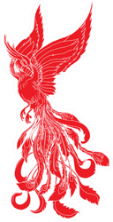 Paper Cut Red Tribal Phoenix Fire Bird Sticker