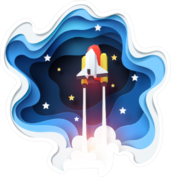 Paper Cut Space Shuttle Launching Sticker