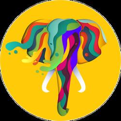 Paper Cut Style Elephant Sticker