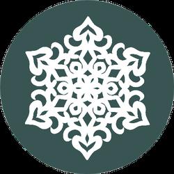 Paper Lace Doily, Decorative Snowflake On Green Sticker