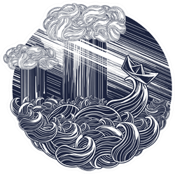 Paper Ship Goes By Sea Storm Tattoo Sticker