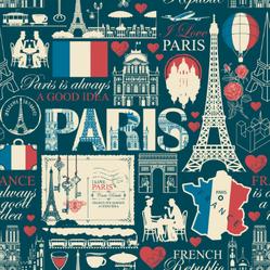 Paris France Pattern Sticker