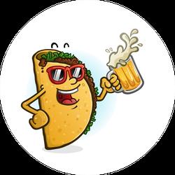 Partying Taco Sticker