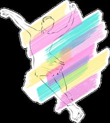 Pastel Silhouette Of Figure Skater Sticker