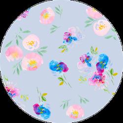 Pastel Wild Pansies  And Peonies Colorful Pattern Sticker
