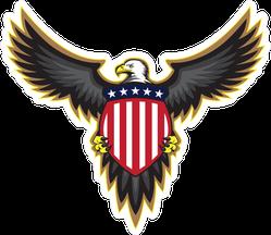 Patriotic American Bald Eagle with Shield Sticker