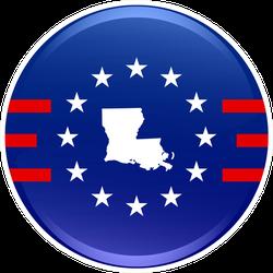 Patriotic Louisiana Button Sticker