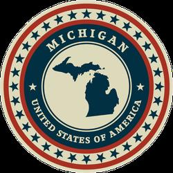 Patriotic Michigan State Sticker