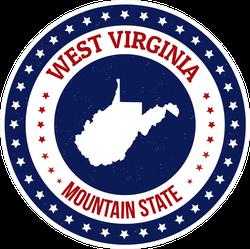 Patriotic West Virginia State Sticker