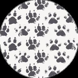 Pattern - Black Ink Prints Paws Sticker