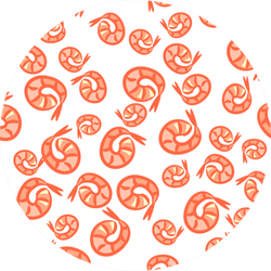 Pattern From Hand Drawn Shrimps Sticker