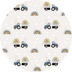 Pattern Illustration Of Tractor Carrying A Rainbow Sticker