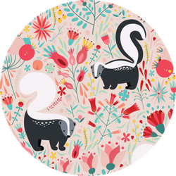 Pattern In Flat Style With Cartoon Floral Skunk Sticker