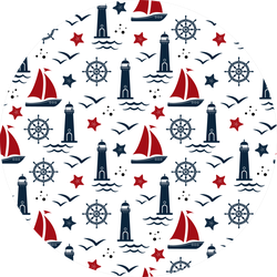 Pattern In Marine Style Lighthouse Sticker