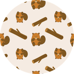 Pattern Of Cartoony Beaver And Log Sticker