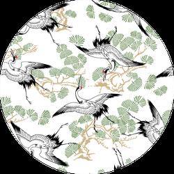 Pattern Of Cranes With Beautiful Illustration Sticker