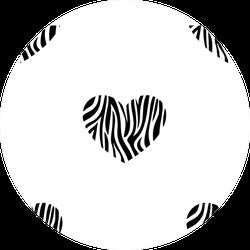 Pattern Of Heart Shape Zebra Skin Sticker