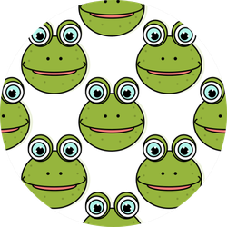 Pattern Of Smiling Frog On White Background Sticker