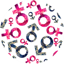 Pattern With A Sign Of A Man And A Woman Gender Equality Sticker