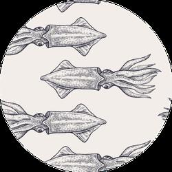 Pattern With Black Squid On Pastel Background Sticker