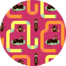 Pattern With Brown Ferrets On Colorful Background Sticker