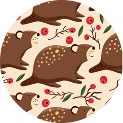 Pattern With Cartoon Cute Beaver Forest Sticker