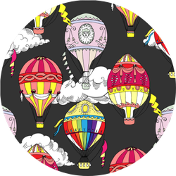 Pattern With Clouds And Hot Air Balloons Sticker