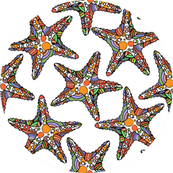 Pattern With Colorful Designed Starfish Sticker