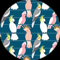 Pattern With Cute Cartoon Cockatoos Sticker