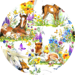 Pattern With Cute Horses On Summer Field Sticker