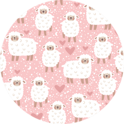 Pattern With Cute Sheep, Heart, Star And Dots Sticker