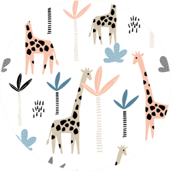 Pattern With Giraffe And Palms Trees Sticker