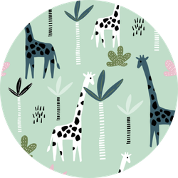 Pattern With Giraffe On Green Sticker