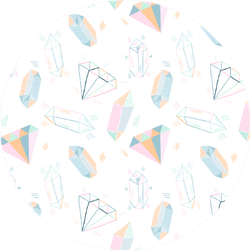 Pattern With Hand Drawn Crystals In Pastel Jeweler Sticker