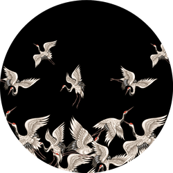 Pattern With Japanese White Cranes In Different Poses In Black Sticker
