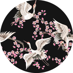 Pattern With Pink Sakura Branches And Cranes Sticker