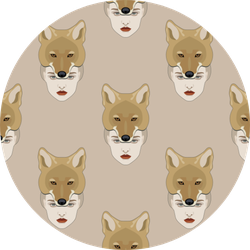 Pattern With Portraits Of Lady Coyote On Beige Sticker