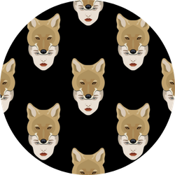 Pattern With Portraits Of Lady Coyote On Black Sticker