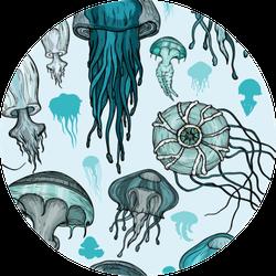 Pattern With Sea Jellyfish Sticker