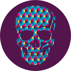 Patterned Human Skull Sticker