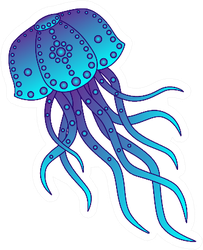 Patterned Jellyfish In Blue And Violet Colors Sticker