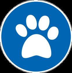 Paw Print In Blue Circle Sticker