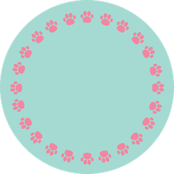 Paw Print Round Frame Pink And Blue Sticker